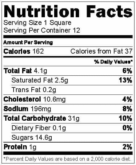 Rice Krispie square nutrition info