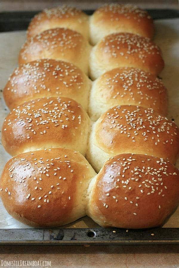 Baked hamburger buns on tray