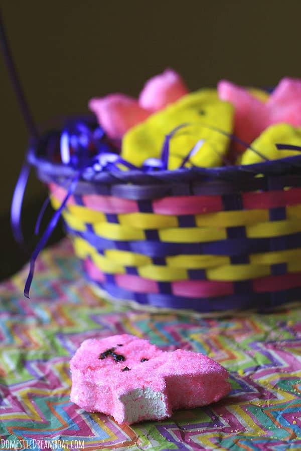 Homemade peeps in basket 2