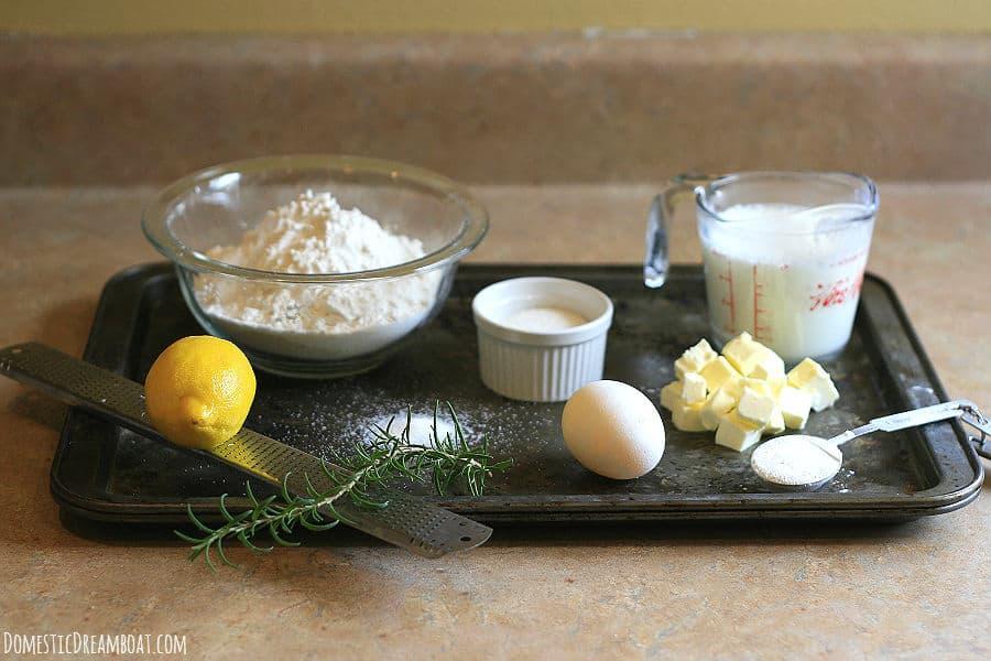 Lemon rosemary scone ingredients