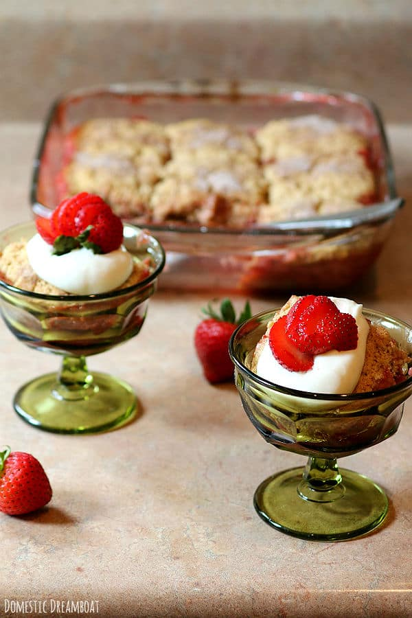 Fresh Strawberry Rhubarb Cobbler with Whole Wheat Biscuits