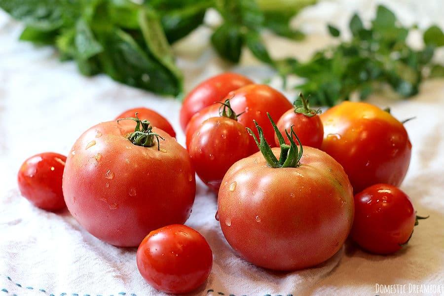Fresh tomatoes and herbs