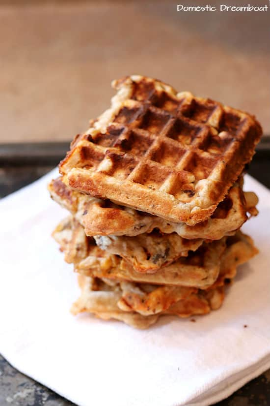 Savory Sausage and Cheese Waffles - Domestic Dreamboat