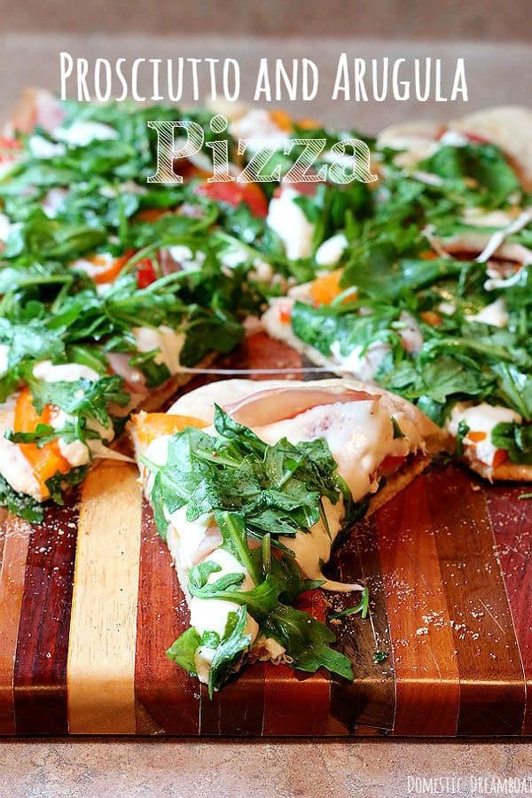 Prosciutto and Arugula Pizza with Fresh Tomatoes and Mozzarella