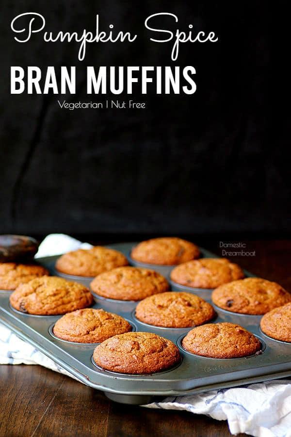 pumpkin spice bran muffins in pan