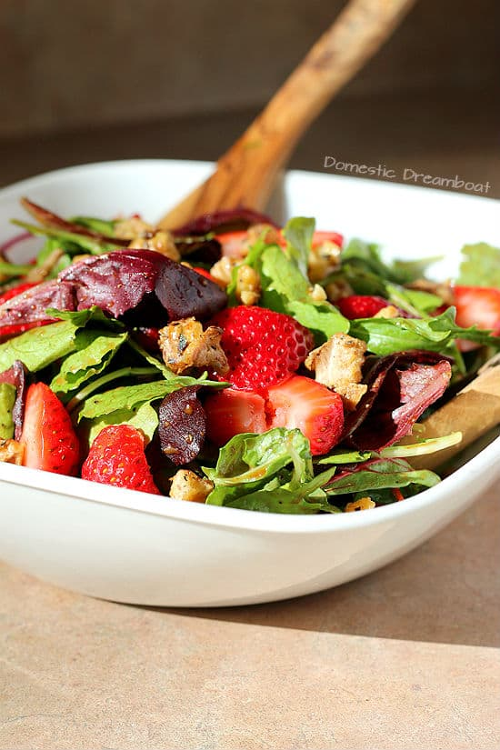 Strawberry Salad with Maple Candied Walnuts and Rosemary Balsamic Dressing