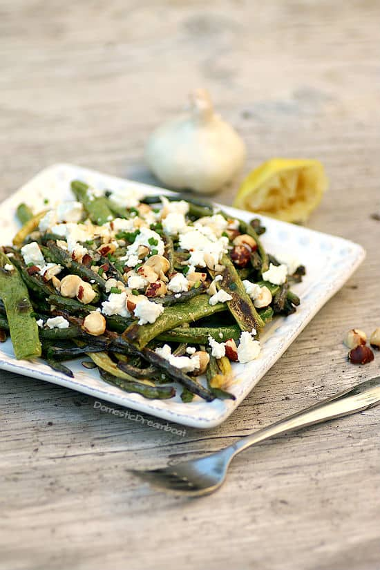 Lemony Roasted Green Beans with Hazelnuts and Goat Cheese