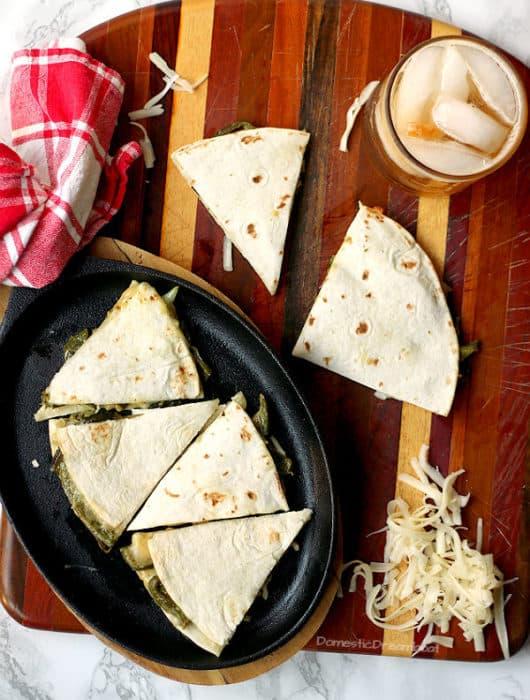 Rajas con Crema Quesadilla - Domestic Dreamboat #vegetarian #meatless #glutenfree