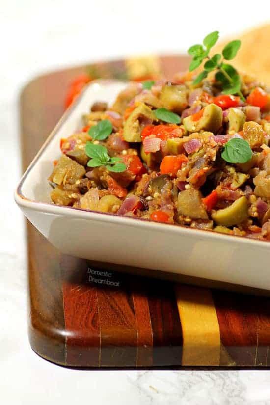 Caponata - Sicilian sauteed eggplant #Glutenfree #vegan - Domestic Dreamboat