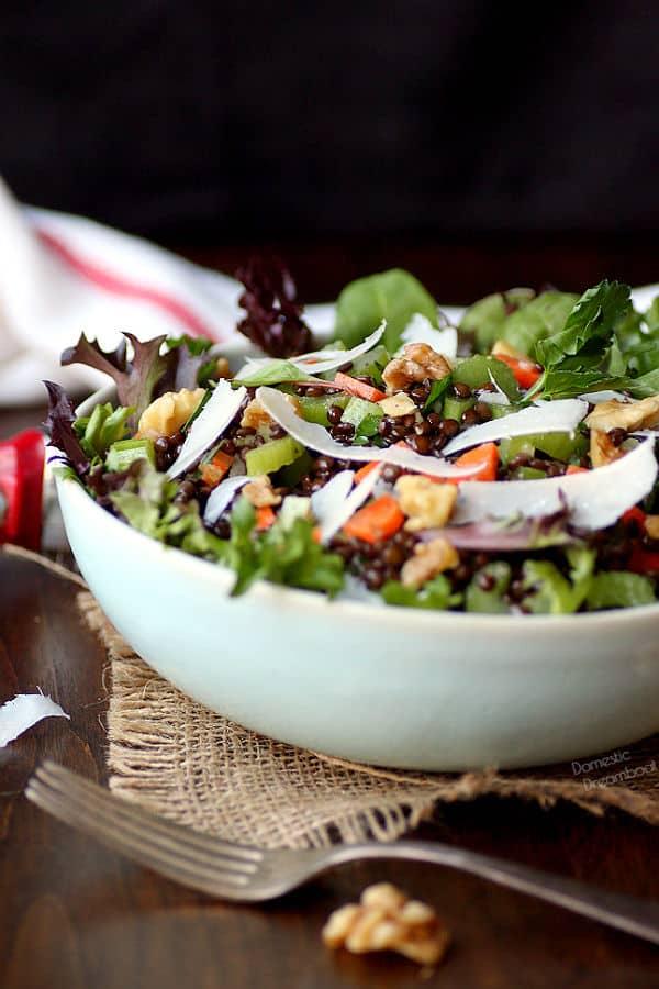 Black Lentil Salad in a bowl