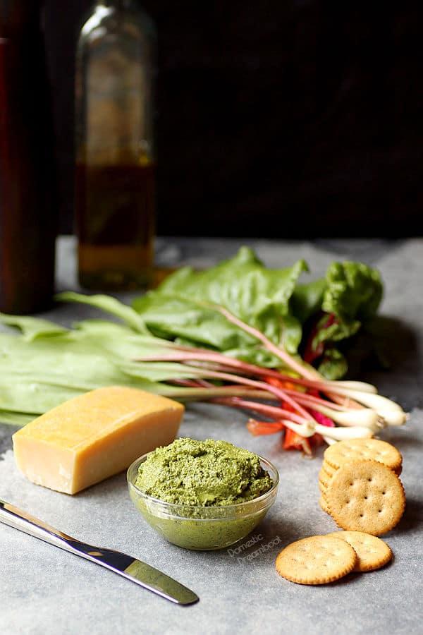 Wild Ramp and Swiss Chard Pesto - Domestic Dreamboat #pesto #wildramps #glutenfree #vegetarian