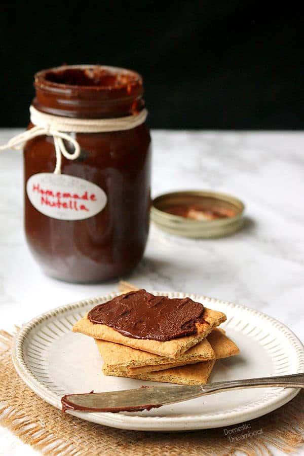 chocolate hazelnut spread on a graham wafer