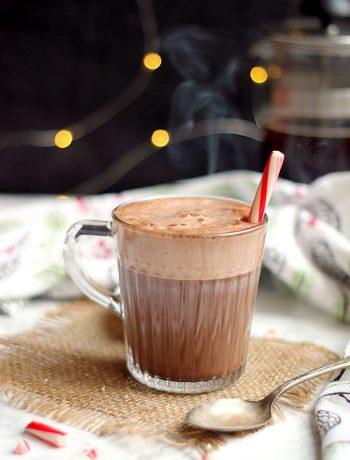 Peppermint Mocha Latte in a glass mug