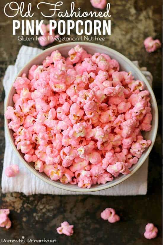 Overhead photo of pink popcorn in a bowl