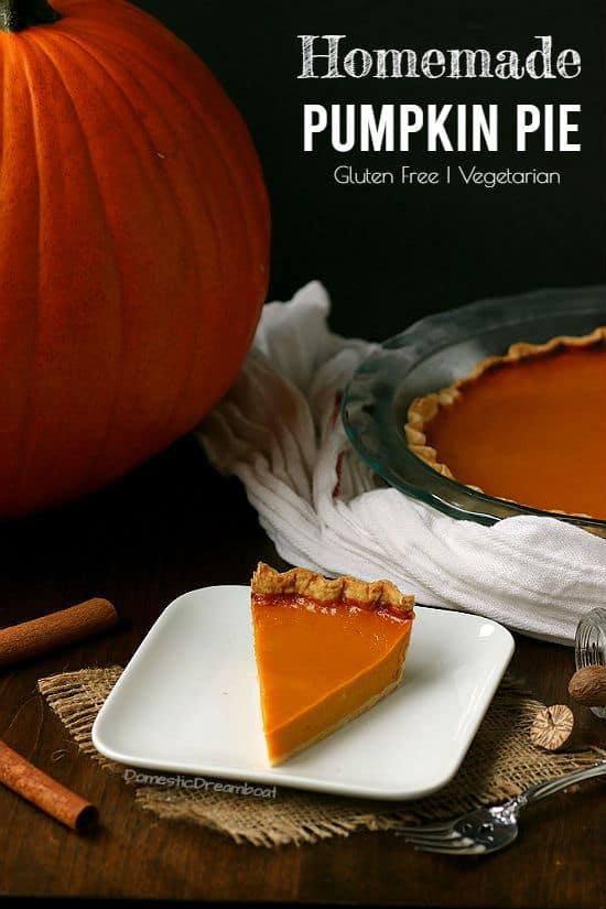Slice of pumpkin pie on a plate