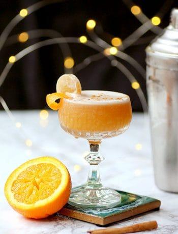 Orange whisky sour cocktail