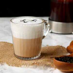 London fog latte in a clear mug